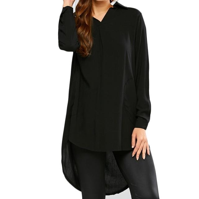 zwarte blouse lang