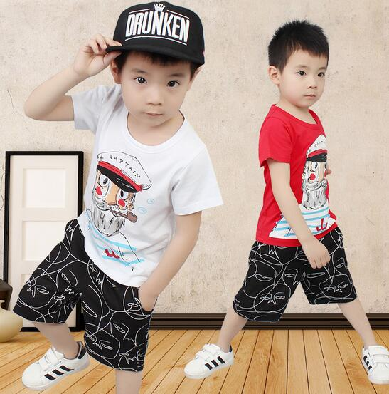 2017 Summer Boys Sports Suits Children's Casual Outfit Cotton Fashion Toddler Boy Clothing Set Shorts For Kids  Ropa Nino