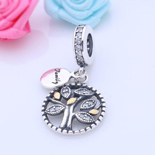 925 Sterling Argent Famille Charmes Cristal Arbre de Vie Perles Fit Pandora  Bracelet Pendentif Pour Femmes berloque pulsera Bijoux