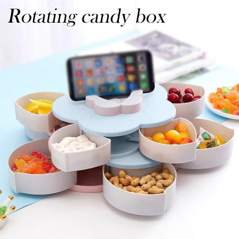 Storage-Box Rotary Wedding-Snack Double-Deck Multifunctional Dry