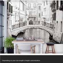 Пользовательские фото обои. Черно-белые венецианские фрески для гостиной спальни ТВ фон стены, водонепроницаемые рельефные обои