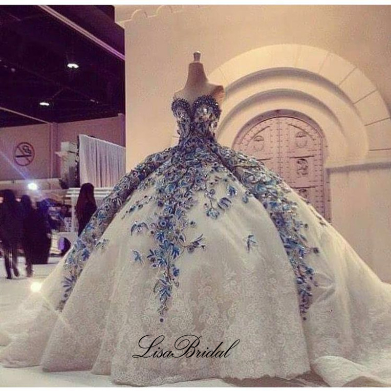 Fantastic New Princess Long Wedding Dress 2017 Sweetheart Neck Off the Shoulder Ball Gown Embroidery Lace Bride Dresses Vestidos