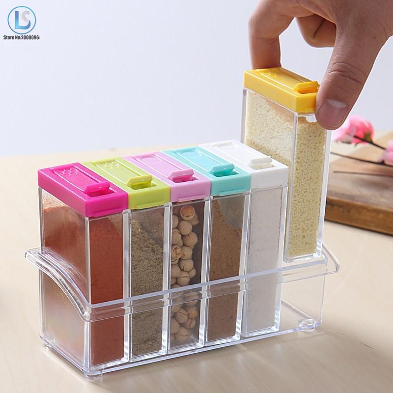 Transparent Spice Jar Newest Simple Colorful Lid Seasoning Box 6pcs/set Kitchen Tools Salt Condiment Cruet Storage Box A539