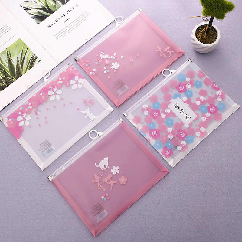 A5 Cherry Sakura Blossoms Zipper File Bag Document Bag File Folder Stationery Filing Production