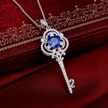 CHRISTMAS Trillion Cut 7mm Natural Tanzanite In 14Kt White Gold Wedding Key Necklace Pendant WP046