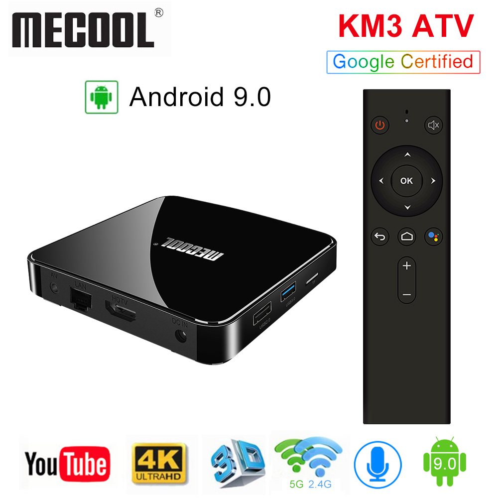 MECOOL KM3 ATV Android tv 9 0 Google Certified Android 9 0 TV Box 4GB 64GB