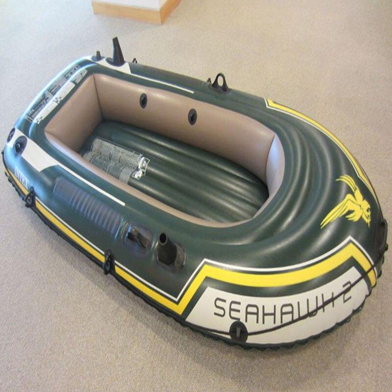 INTEX 68347 Bateau de pêche Gonflable pour deux personnes Bateau d'amusement aquatique avec pagaie et pompe Bateau Gonflable Kayak de pêche