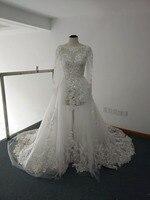 الفاخرة حقيقية خط نرى خلال انفصال تنورة فساتين الزفاف الرباط appliqued كم طويل أثواب الزفاف