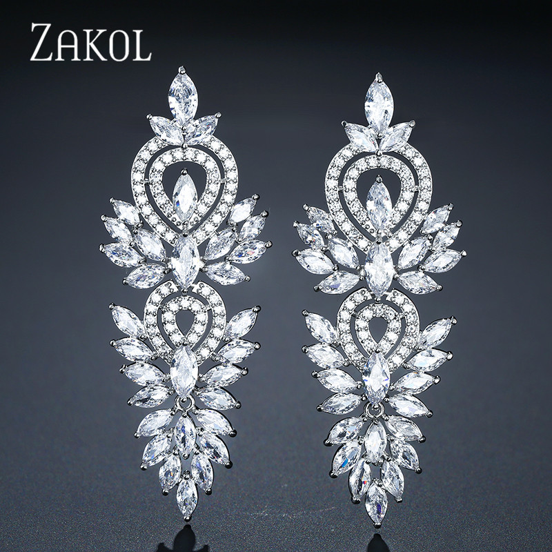 ZAKOL Vintage Leaf Wedding Party Jewelry Accessories Cubic Zirconia Big Long Luxury Bridal Drop Earrings For Women FSEP2181ZAKOL Vintage Leaf Wedding Party Jewelry Accessories Cubic Zirconia Big Long Luxury Bridal Drop Earrings For Women FSEP2181