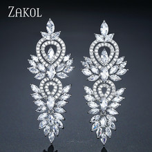 ZAKOL Vintage Leaf Wedding Party Jewelry Accessories Cubic Zirconia Big Long Luxury Bridal Drop Earrings For Women FSEP2181