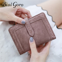 BISI GORO 2019 Fashion Women Short Purses Wallet Female PU Leather Women Wallets Hasp Coin Purse Wallet   Small Card Holder