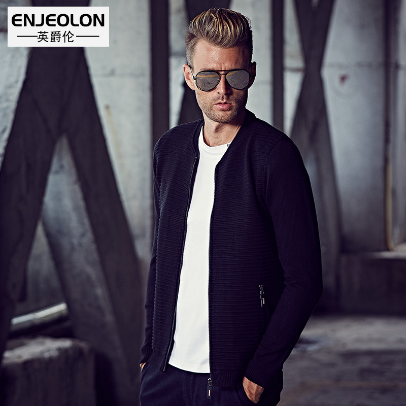 Enjeolon brand 2017 Knitted Cardigan Sweaters Men slim fit V neck zipper fly clothes solid Black