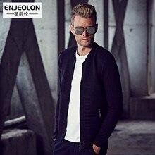 Enjeolon бренд 2017 вязаный кардиган свитера Мужчины, стройная фигура v-образным Вырезом Молния Fly одежда черный свитер Трикотаж Пальто M3060