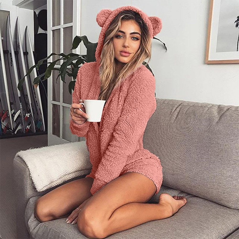 2018 new cat ears Jumpsuits Women long sleeve Jumpsuits Lady Kawaii zipper Shorts Rompers Playsuit Home Service woman Jumpsuit