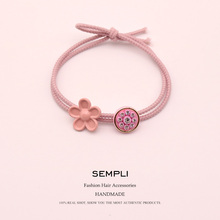 Sempli Rhinestone Flower High Elasticity Elastic Hair Bands For Kid Children Korean Style Rubber Accessories Headband
