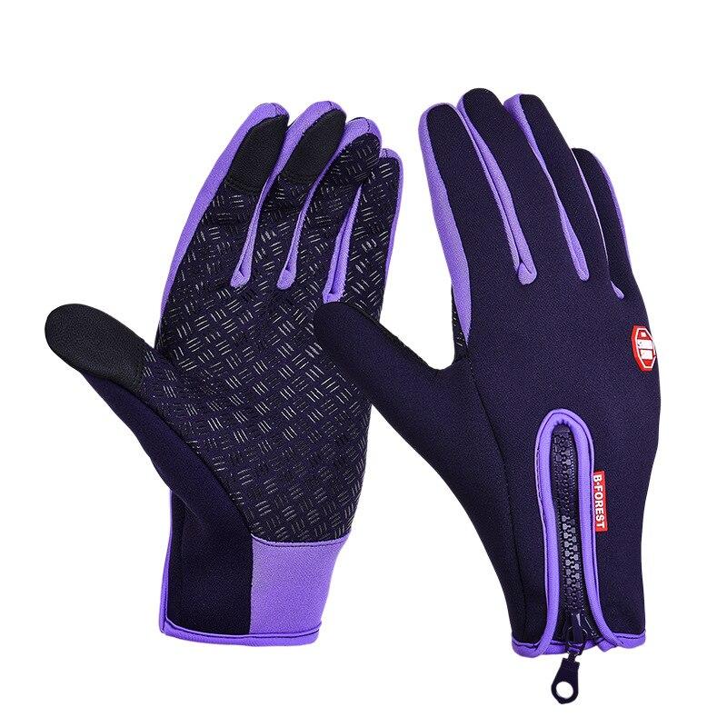 Унисекс тачскрин зима Тепловая Теплая велосипедная Лыжная уличная походная мотоциклетная перчатки спортивный с полными пальцами - Цвет: Purple