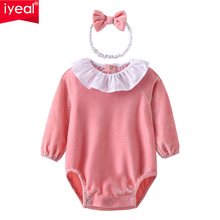IYEAL Newborn Baby Bodysuit with Headband Long Sleeve Velvet Princess Girls Clothes Kids Toddler Infant Body suits