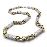 Stainless Steel Men S Necklace Link Chain Silver Gold Length 22 Inch