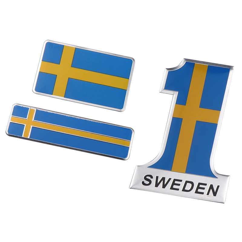 Aluminium suède drapeau voiture style autocollant emblème décalque Badge pour SE voitures corps fenêtre porte pour Volvo V70 XC60 S60 V60 V40 Golf