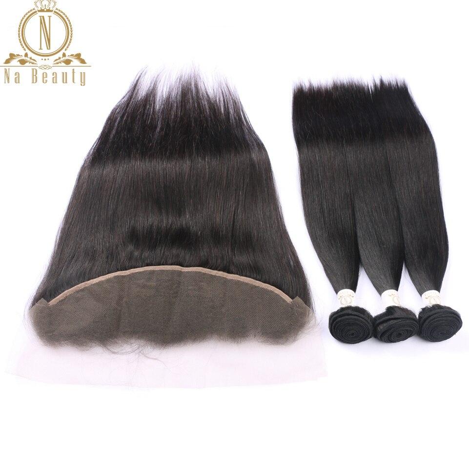 Бразильские человеческие волосы прямые волосы 3 Связки с кружевом фронтальные Волосы remy переплетается с застежка спереди бесплатная часть