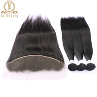 Brazilian Human Hair Straight Hair 3 Bundles With Lace Frontal Remy Hair Weaves With Front Closure Free Part Natural Black Hair