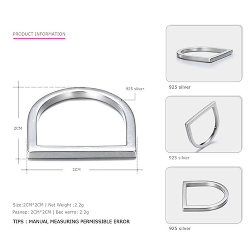 Image 4 - 100% 925 Anéis de Prata Esterlina Para Mulheres Escritório  Minimalis Design Simples Anel Trendy Acessórios Fine Jewelry Anillos  MujerAnéis