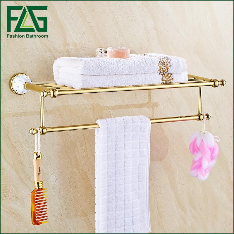 Free Shipping Brass+Crystal Gold Plating Towel Shelf with Bar, Towel Holder Bathroom Accessories Crystal  Metal Towel Racks free ship gold clour bathroom crystal bathtowel racks bathtowel shelf towel holder