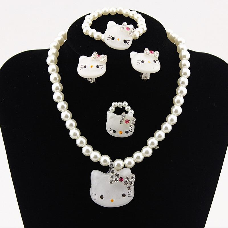 Kitty Necklace Jewelry-Set Crystal Imitation-Pearl-Beads Kids Princess Children White/pink