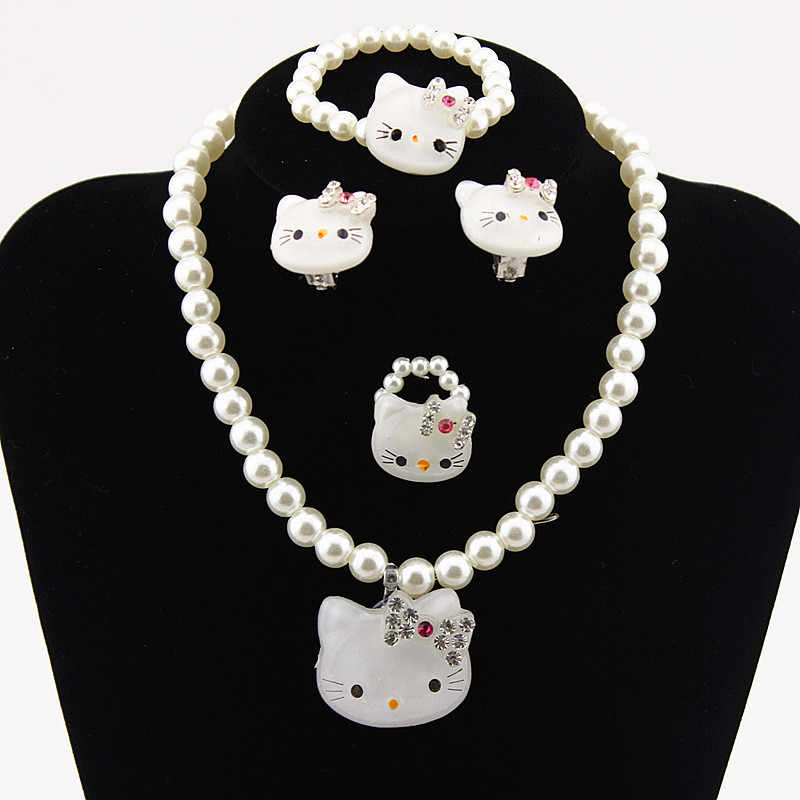 1Set=4pcs Girls Kids Baby Princess Crystal white/pink Kitty Cat Necklace Imitation Pearl Beads Jewelry Set Children