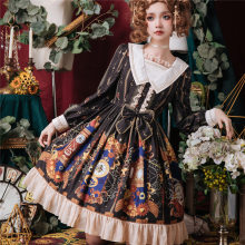 Free New Arrival Shipping 2019 New Brocade Garden Originally Printed Lolita Heart Of Fashion Long Sleeve Op Dress Retro Skirt(China)