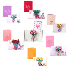 Thank You Thanksgiving 3D Pop Up Greeting Post Cards for Birthday Lover Valentines Day Rose Wedding Invitations Customzied