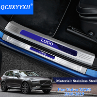 QCBXYYXH Car Styling 4Pcs Stainless Steel Internal And External Car Door Threshold Trim Decoration For Volvo
