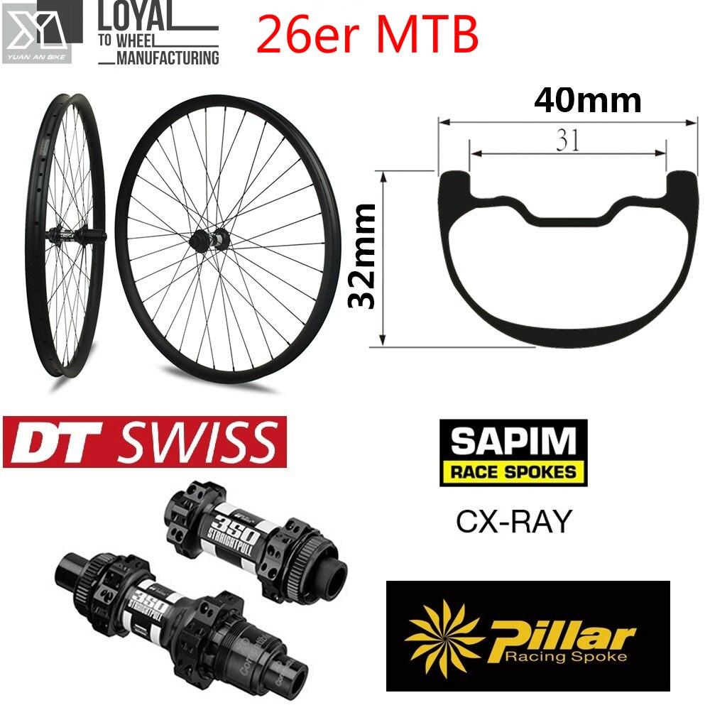 26er Descente Enduro Carbone VTT roue VTT roue 40mm Plus Large Jante avec DT350 VTT hub pour Vélo