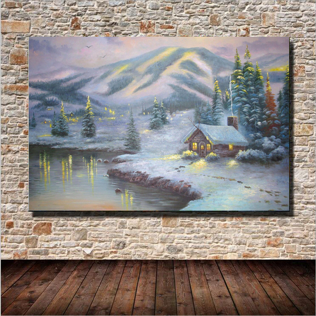 Cabin Wall Art aliexpress : buy 1 plane village cabin snow landscape oil