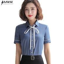 New High Quality Elegant Clothes Bow Women Shirt OL Summer Formal Slim Short Sleeve Chiffon Blouses Office Ladies Plus Size Tops