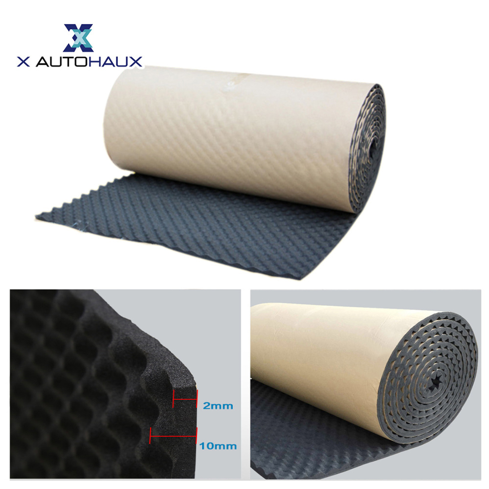 X Autohaux 50*100/300/500CM Studio Sound Acoustic Absorption Car Heatproof Wave Foam Deadener Sound Deadener Insulation Mat