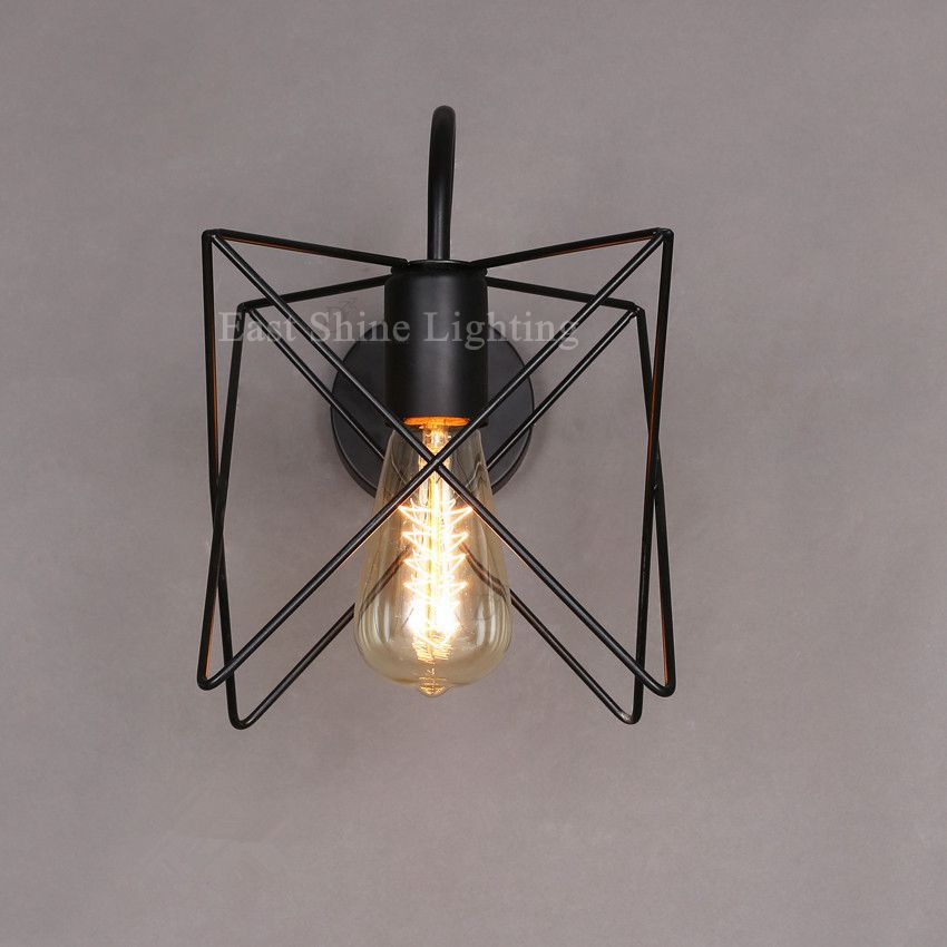 Vintage Wall lamp metal Cage Wall light Bedroom Bedside Sconces ...