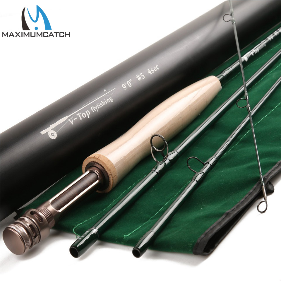 Maximumcatch V-Top Fly Rod 40T+46T SK Carbon Fast Action AAAA Cork With Aluminium Tube Fly Fishing Rod 5/6/8WT 9FT