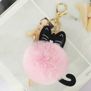 Fashion Cat Pompom Ball Key Ch