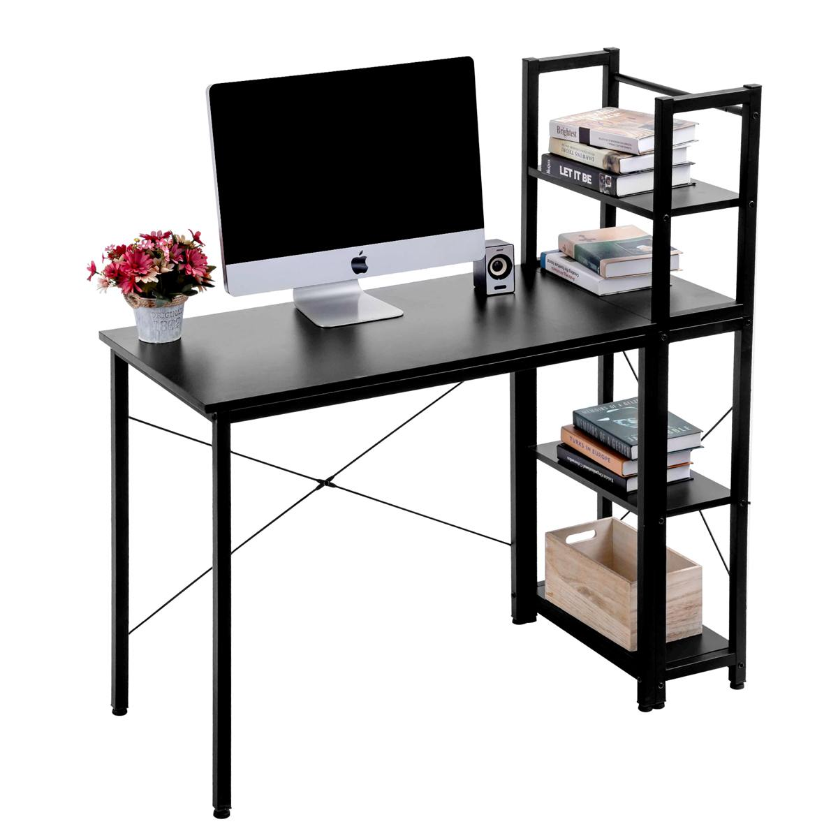 Modern Style Office Desk Computer Laptop Desk With 4 Tier Wood Shelves Study Writing Table PC Laptop Table For Home Office
