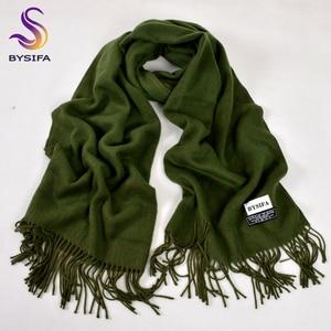 Image 4 - [BYSIFA] New Winter Ladies Army Green Pashmina Scarves Shawls Fashion Trendy Tassel Women Luxury Cashmere Pashmina Scarves Wraps