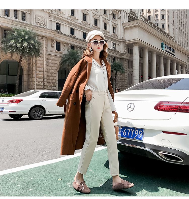 19 Autumn New Women Elastic Woolen Pant Female Plus Size Casual Trousers Black/Gray Harem Pants Winter Wool Ankle-Length Pants 19