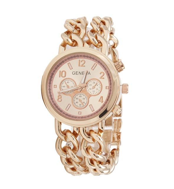 Top Fashion 2016 New Double Chain Gold Geneva Bracelet Watches Women Luxury Famo