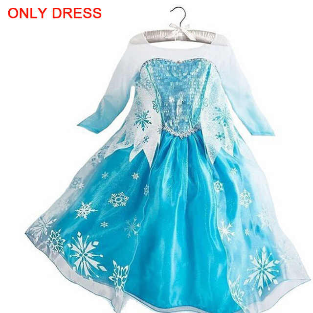Snow Queen Elsa Dresses Princess Anna Elsa Dress Elza Costumes For Girls Party Vestidos Kids Girls Clothing Elsa Clothes Set