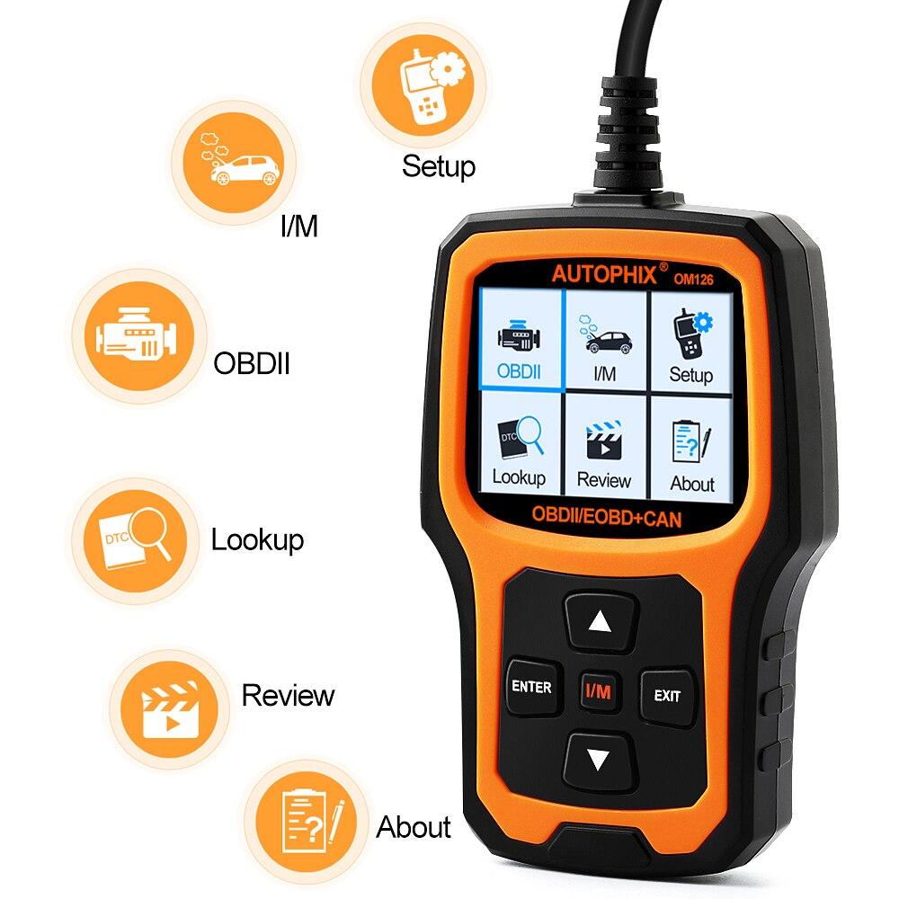 Цена за Автомобильная сканер в португальский AUTOPHIX OM126 OBD2 автомобиля диагностический инструмент универсальный авто код неисправности сканер OBD OBD2 ЭБУ детектор
