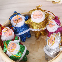 цена на 6 Pcs Mini Shining Santa Claus Doll Pendant Hanging Ornaments for Christmas Tree Decorations 998