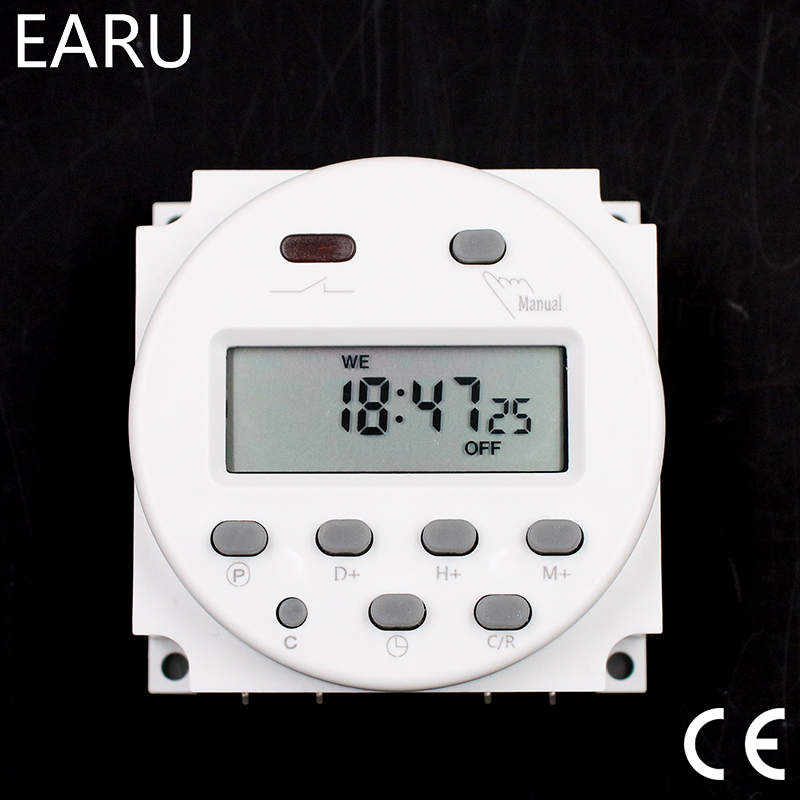 CN101A Timer Switch AC/DC 12V 24V 110V 120V 220V 230V 240V Digital LCD Power Week Mini Programmable Time Switch Relay 8A to 16A 12v dc input 7 days programmable 24hrs mini timer switch time relay output load high power 30a