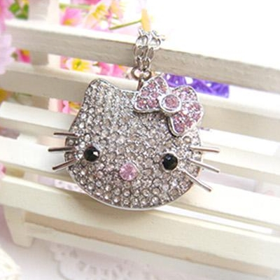 Fashion 2.0 Necklace 64GB 16GB Pen Drive 32GB Cat Kitty Usb Flash Drive 128GB Memory Stick Pendrive 512GB Crystal Jewelry Gift
