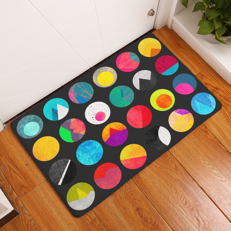 Cartoon Flannel Carpet Colorful Circle Printing Mat For Living Room 40x60cm 50X80cm Door mat Rectangle Tapete