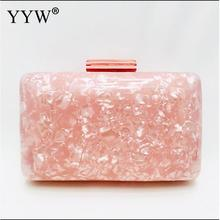 Pink Marbling Acrylic Pillow Clutch Bag Evening Party Bags With Gold Chain Fashion Banquet Purse Prom Wallet Handbag For Women new design gold totes party evening bag fashion womens wallet style chain handbag clutch banquet mini bag sfx a0139